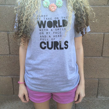 Curls Adult Tee Shirt - Curly Haired Shirt for Women - Curly haired shirt for teens - womens curly hair shirt - curly hair tee shirt
