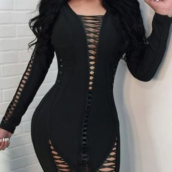 Black Cut Out Lace-up Backless Zipper Bodycon Long Sleeve Party Midi Dress