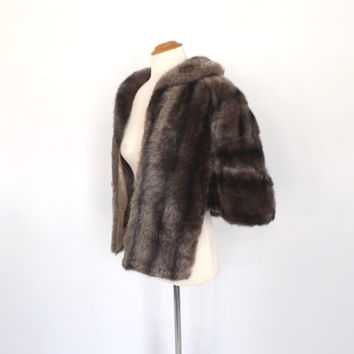 Vintage 1950s 1960s Regina Glenara Faux Fur Capelet Glenoit Brown Fur Stole Fur Cape 1960s Fur Wrap Pin Up Wedding Dress Cover Up