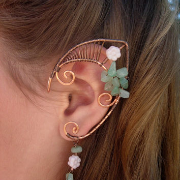 Pair of Beautiful Copper Faerie Ears with glass flower accents and Light Aventurine chips, Elf Ear Cuffs, Fairy, Renaissance, Elven