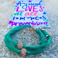 PROVERBS 17:17 Teal Beaded friendship bracelet set
