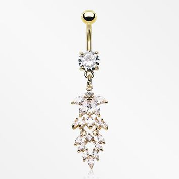 Golden Sparkle Willow Leaves Belly Button Ring