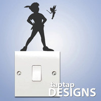 Peter Pan Shadow Light Switch Wall Decal Sticker SKU0129