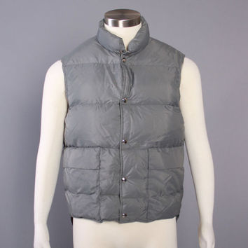 80s Grey PUFFY DOWN VEST / 1980s Goose Down Puffer Vest, L