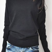 Black Boat Neck Long Sleeve Batwing Pullovers Sweater - Sheinside.com
