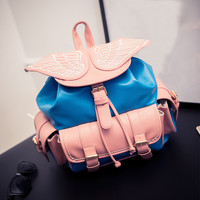 new fashion stereo handsome personalized novelty angel wings backpack / large capacity backpack school bag mochila freeship