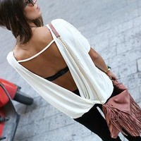 Free Shipping Big Size Women Summer Loose Casual Blouse Women's Chiffon Backless Vest Tops Blouse Ladies Batwing Sleeve Blouse
