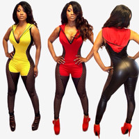New Sexy V-Neck Perspective Mesh Splicing PU Leather Bandage Jumpsuit Party Club Bodycon Overalls Women Bodysuit Rompers #5677