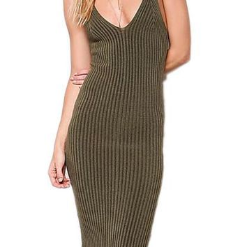 Ribbed Knit Body Con Dress