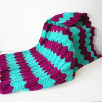 Chevron Stripes Baby Afghan Blanket in Boysenberry and Jade, ready to ship.
