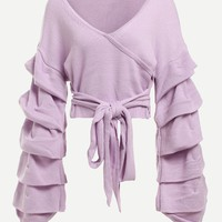 Gathered Sleeve Knot Crop Jumper