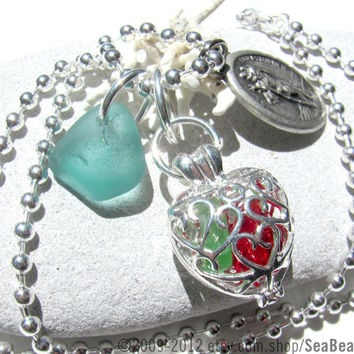 Saint Catholic Necklace St Christopher Travelers by SeaBeachGlass
