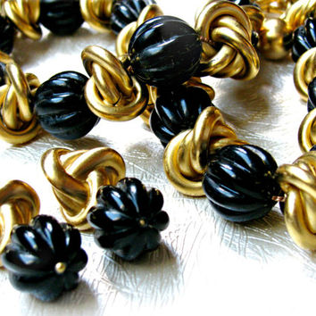 Vintage 80s Anne Klein Necklace and Earrings Matte Gold and Black Melon Beads With Lion Logo Dangle Couture