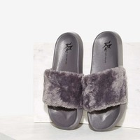 LFL by Lust For Life Fine Thanks Faux Fur Slide Sandal - Gray
