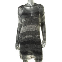 Pure DKNY Womens Crochet Printed Casual Dress