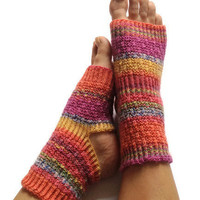 MADE TO ORDER Toeless Yoga Socks Hand Knit in Rainbow Stripes Pedicure Pilates Dance