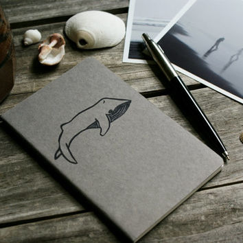 Blue Whale on Gray Notebook Moleskine Journal Hand Carved Stamp Sea Marine Ocean Mammal Summer Beach Travel Student Hostess Gift