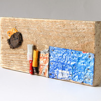 Wood decorative art abstract collage upcycled artwork [T058]