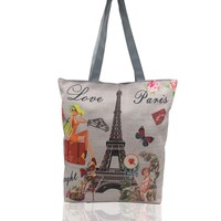 Women Lady Casual Canvas Zipper Paris Tower Tote Shoulder Bags Bag Handbags US