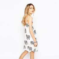 Elephant Print Spaghetti Strap A-Line Mini Dress