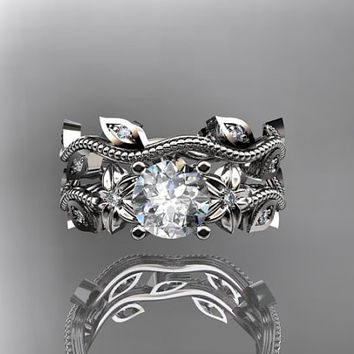 platinum diamond leaf and vine wedding ring,engagement ring,engagement set with Forever Brilliant moissanite center stone,ADLR151S