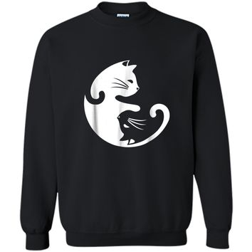 Cat Yin Yang Peace Loving Interconnected  Printed Crewneck Pullover Sweatshirt