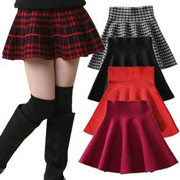 New Girls Brief Skirts Spring Summer Children Pleated Mini Skirts Solid Plaid Princess Kids Skirt