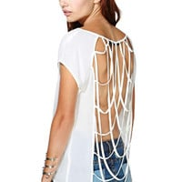 White Cross Cut-out Back Clubwear Top
