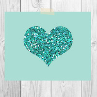 Valentine's Day Printable Art | Glitter Heart | Instant Download | Nursery Art | Children's Room Decor | Love