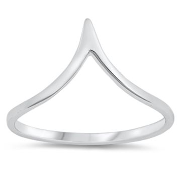 .925 Sterling Silver Deep Chevron V Ring Ladies Size 3-10 Midi Thumb Knuckle