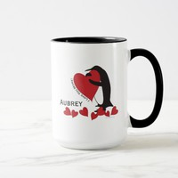 I Love You More! - Penguin and Red Hearts Name Mug