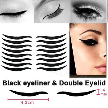 Smoky Tattoo eye makeup Sexy Cat Style Eyes Sticker Black Eyeliner & Double Eyelid Tape 16 stickers