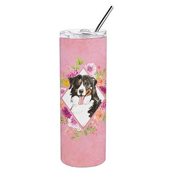 Bernese Mountain Dog Pink Flowers Double Walled Stainless Steel 20 oz Skinny Tumbler CK4264TBL20