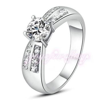 VONG2W Mytys White Gold Color Engagement wedding rings prom setting Crystal shining noble design ring R255
