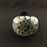 Apprentice Cobalt Glass Silver and Gold Fumed Pattern Tobacco Spoon Pipe