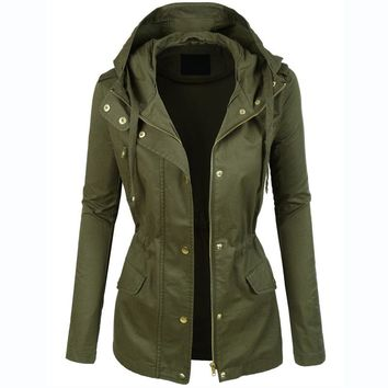 Womens Military Anorak Jacket With Hood Lightweight Women Jacket 2016 Fashion Casual Ladies Jackets Zipper Up Female Coat