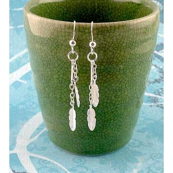 Tiny Feather & Chain Dangle Earrings