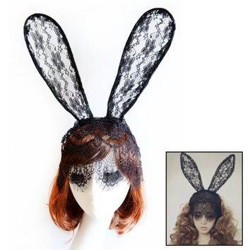 Halloween Sexy black white rabbit ear adjustable lace mask headband party halloween costume hair band Hair Accessory