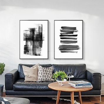 Modern Abstract Canvas Painting Black and White A4 Posters and Prints Wall Art Pictures For Living Room Home Decor No Frame