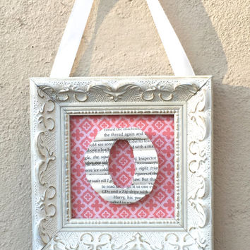 Small framed book letter, Letter O, Book lover gift, Book Page Letter, Book Art, Decorative Wood Letter, Bookshelf Decor, Personalized Gift