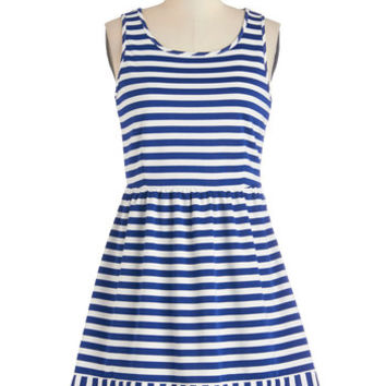 ModCloth Nautical Short Tank top (2 thick straps) A-line Beach Boogie Dress