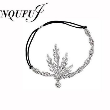 CREYCI7 1920's  Great Gatsby Headband  Bridal Hair Accessories Wedding Tiaras And Crowns Inspired Leaf Medallion Headpiece