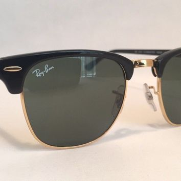 Ray Ban Clubmaster Sunglasses RB3016 WO365 Black Frame 49mm Classic G-15 Lenses