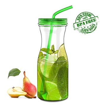 SH&H 33oz New Cold Drink Tumbler with Straw, Green