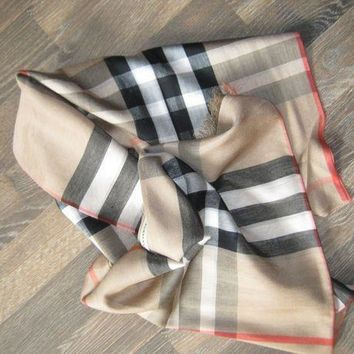 PEAPON BURBERRY long wool/ silk gauze SCARF
