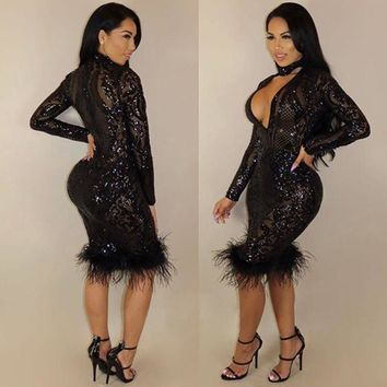 Deep V Neck Feather Sequined Choker Body con Dress