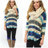 SZ LARGE Hues Of Blue Printed Long Sleeve Dolman Top