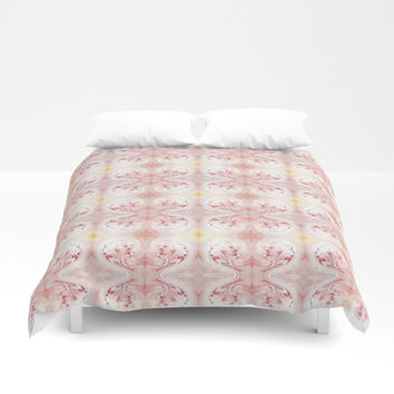 Shabby Chic Peach with White and Yellow #HomeDecor Duvet Cover by Sheila Wenzel