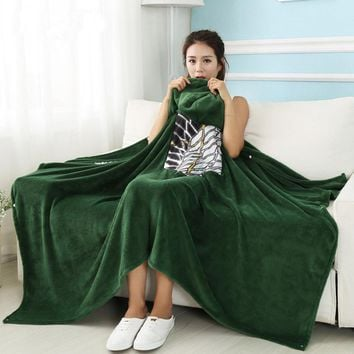 Cool Attack on Titan  Blanket Cloak No  Survey Corps Cloak Cape Flannel Cosplay Costume Hoodie AT_90_11