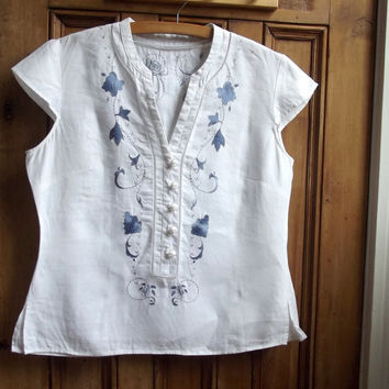 Womens boho  shirt / vintage flok blouse / neutral clothing / embroidered / rustic / Dolly Topsy Etsy UK